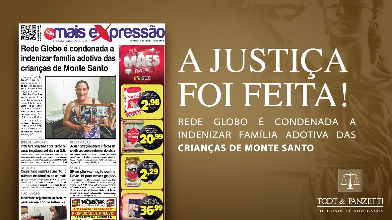 JUSTIÇA CONDENA REDE GOLBO A INDENIZAR FAMÍLIA ADOTIVA DAS CRIANÇAS DE MONTE SANTO.